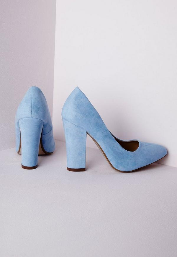 block heel court shoes powder blue missguided