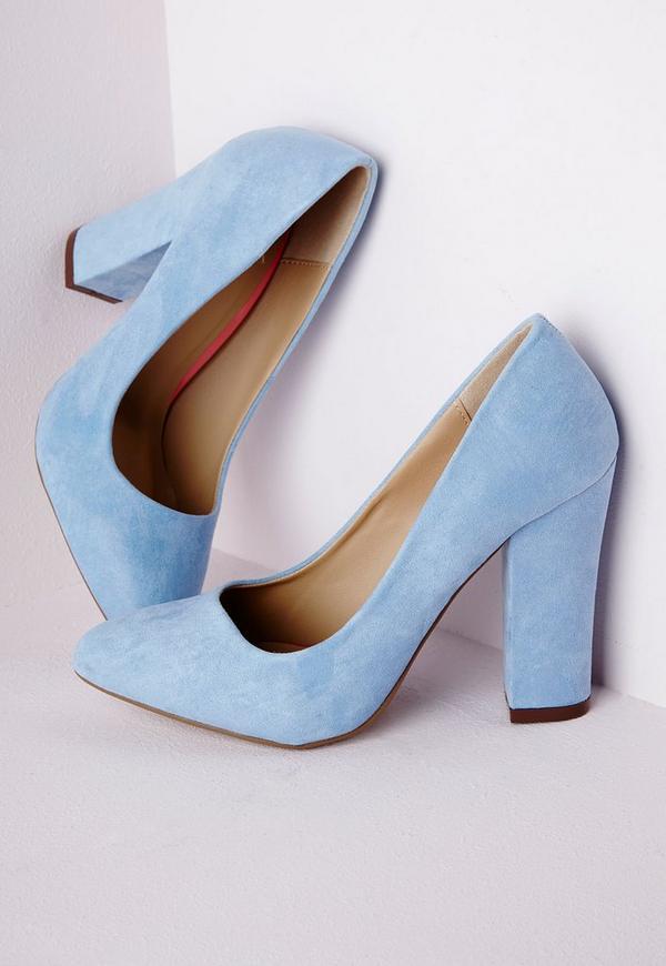 Block Heeled Court Shoes Beige