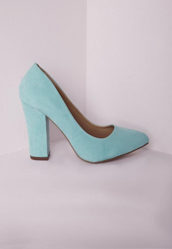 Block Heel Court Shoes Mint