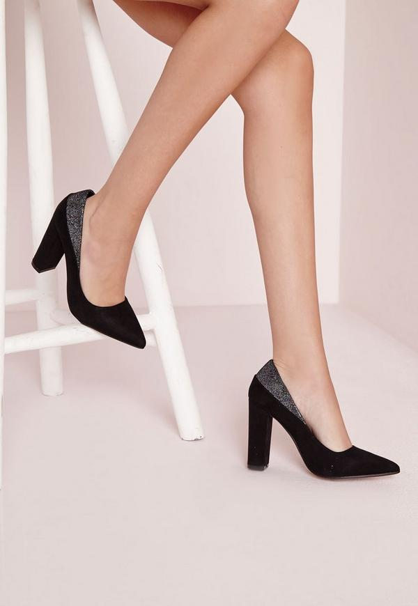 Contrast Pointed Block Heel Court Shoes Black