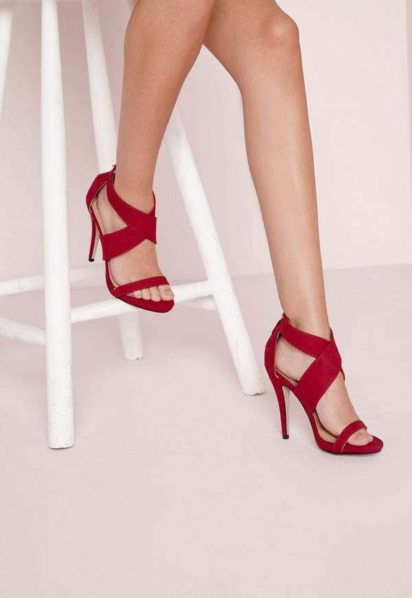 Crossover Strap Heeled Sandals Red