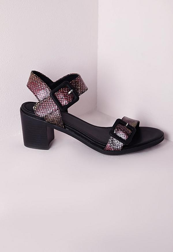 Block Heel Buckle Sandals Multi Reptile