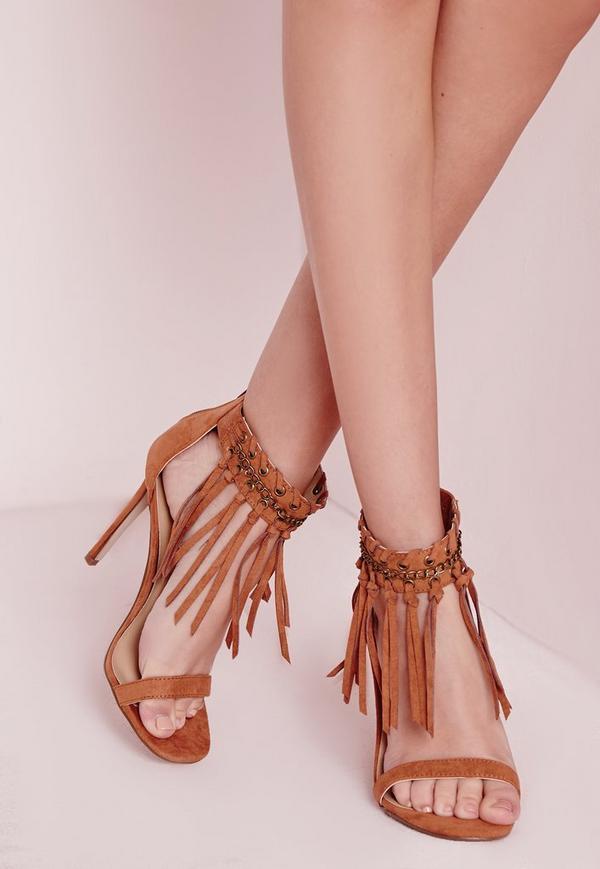 Tassel Ankle Strap Heeled Sandals Tan