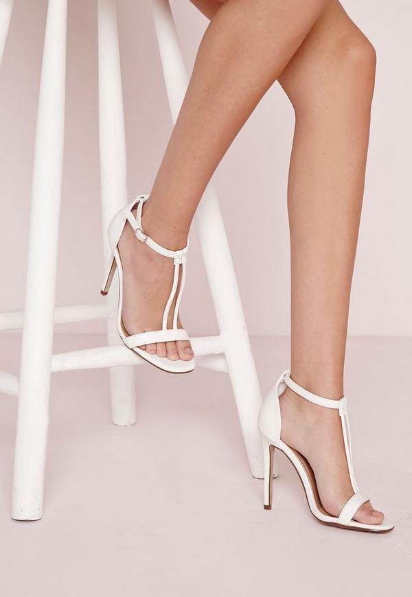 Double Strap T Bar Sandals White