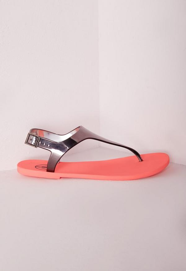 Contrast T-Bar Jelly Sandal Pewter