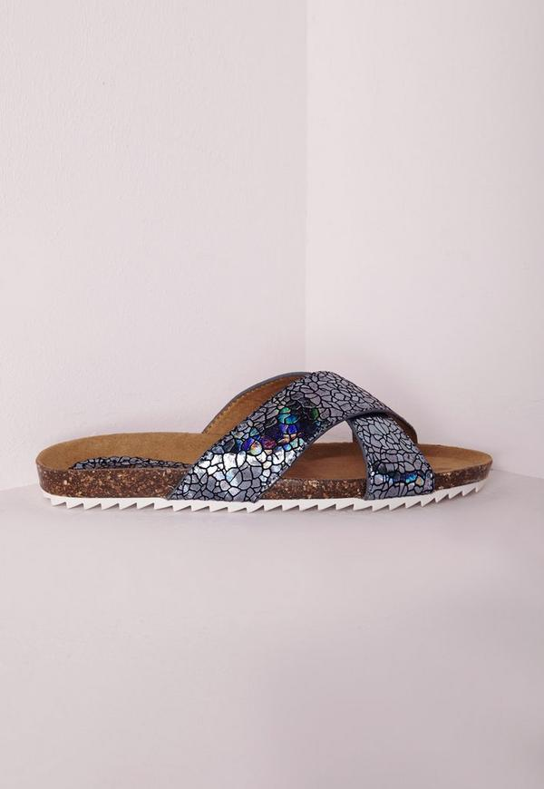 Cross Strap Sliders Holographic Blue