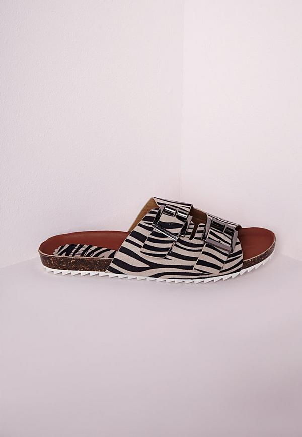 Double Strap Buckle Sliders Zebra Print