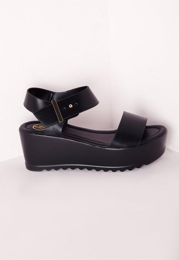 Ankle Strap Cleated Flatform Black