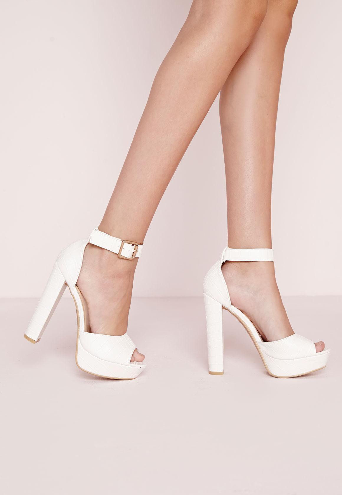 Croc Effect Platform Heeled Sandals White   Missguided