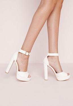 Croc Effect Platform Heeled Sandals White