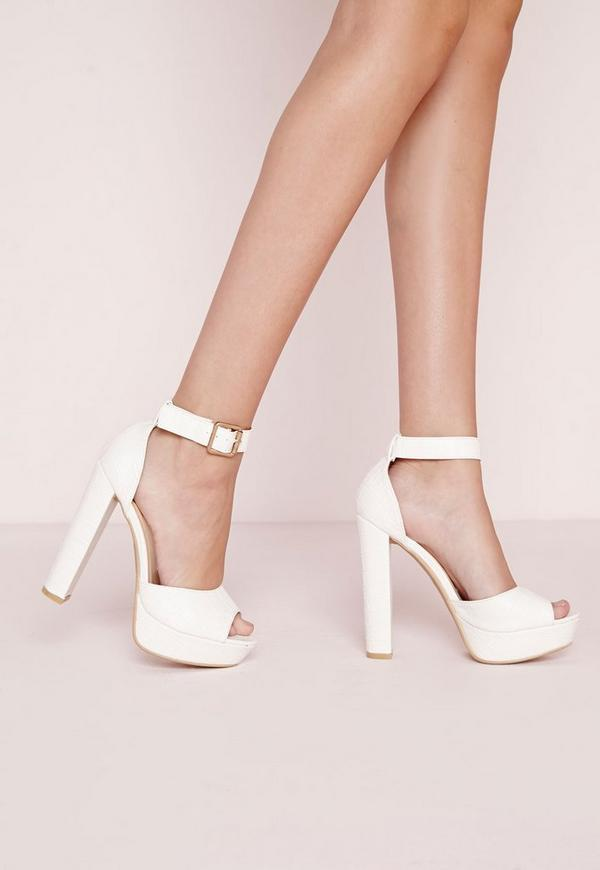 Croc Effect Platform Heeled Sandals White
