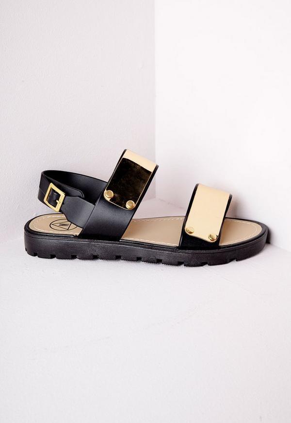 Double Strap Gladiator Sandals Black