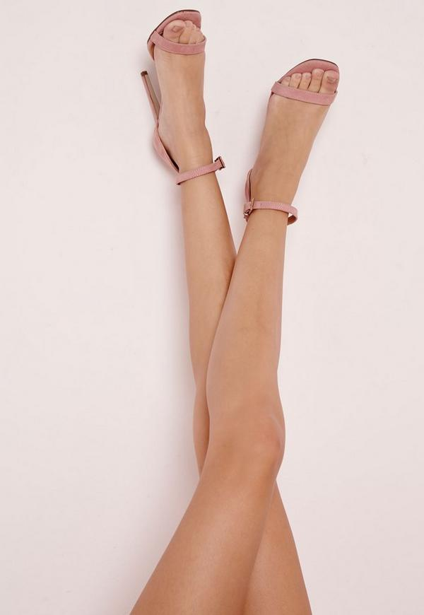 Barely There Strappy Heeled Sandals Rose Missguided
