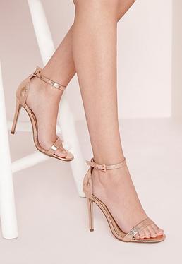 Sandales à brides fines métallisées or rose