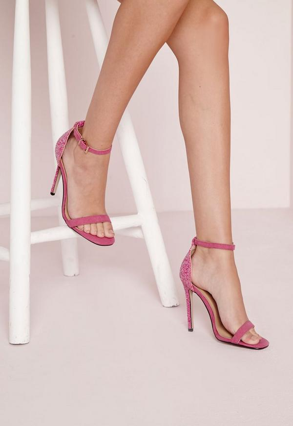 Barely There Strappy Heeled Sandals Fuchsia Glitter