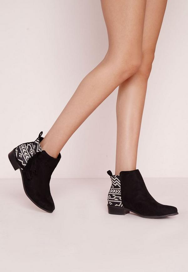 Embroidered Tassel Ankle Boots Black