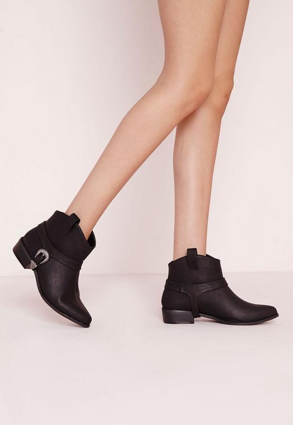 Spur Strap Cowboy Boots Black