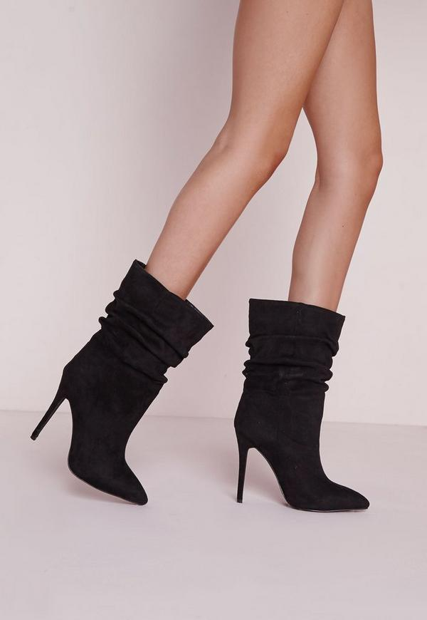 Ruched Pointed Toe Ankle Boots Black Missguided