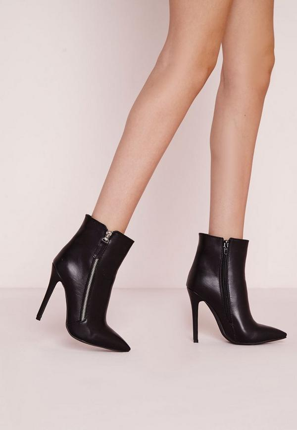 Zip Side Detail Heeled Ankle Boots Black