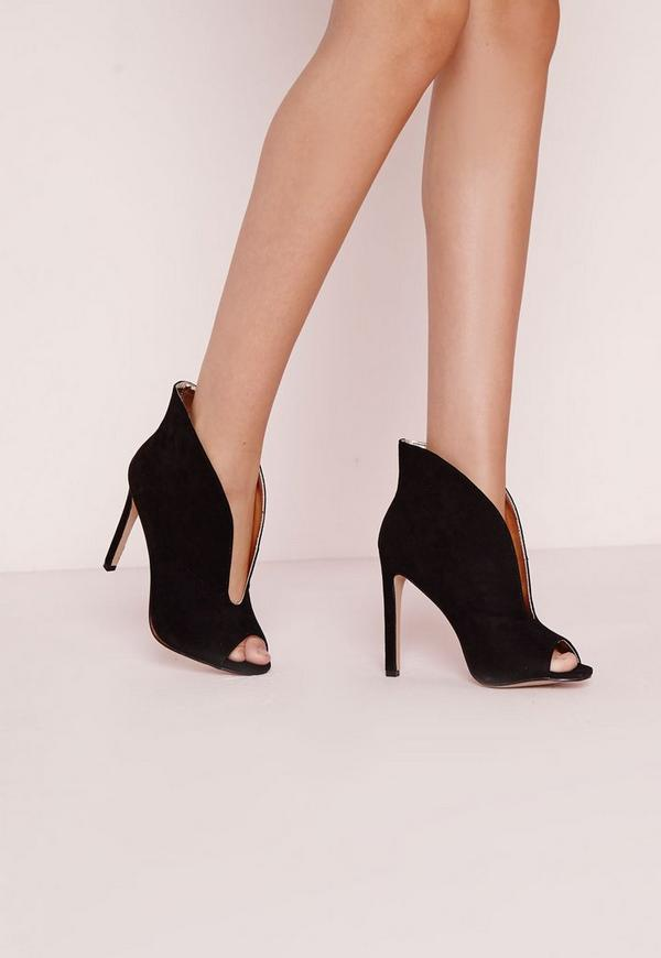 V Front Peep Toe Heeled Shoe Black