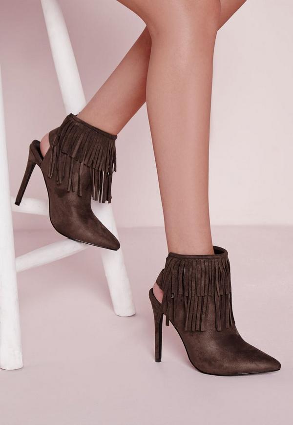 Fringe Detail Heeled Ankle Boots Grey
