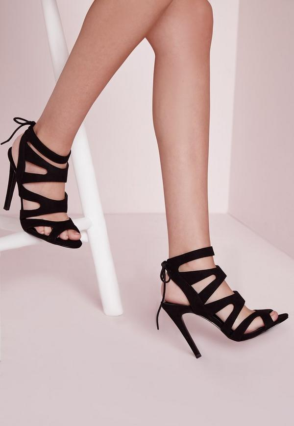 Laser Cut Heeled Sandals Black