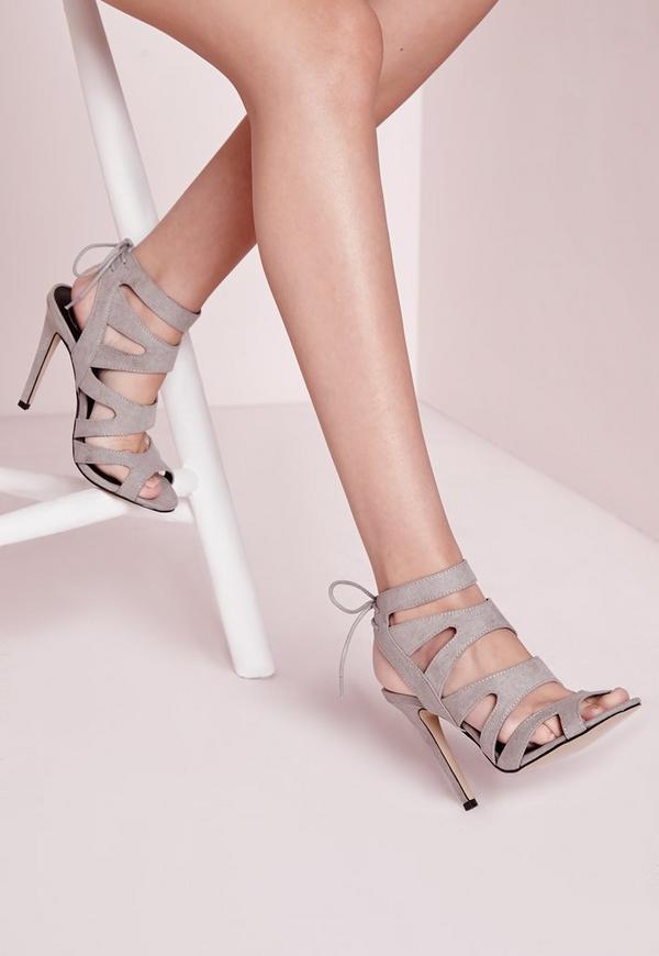 Laser Cut Heeled Sandals Grey