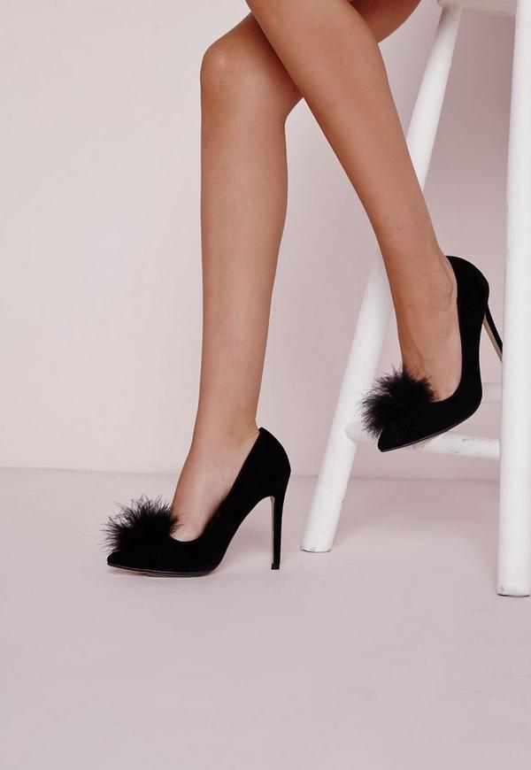 Feather Vamp Court Shoes Black