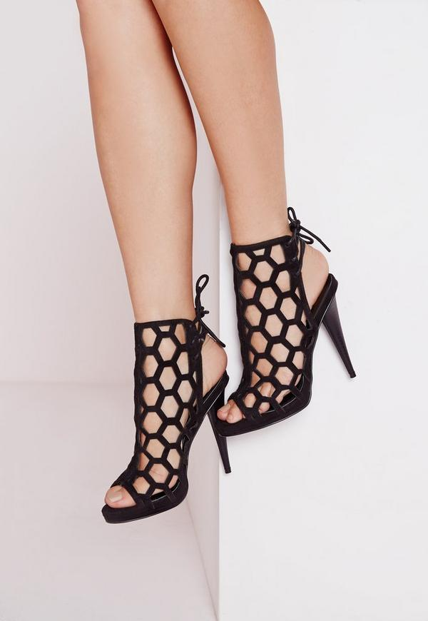 Lasercut Tie Back Heeled Sandals Black