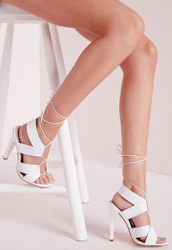 Cross Strap Lace Up Heeled Sandals White