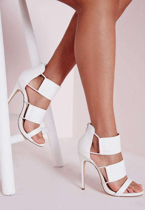 Elastic Detail Heeled Sandals White
