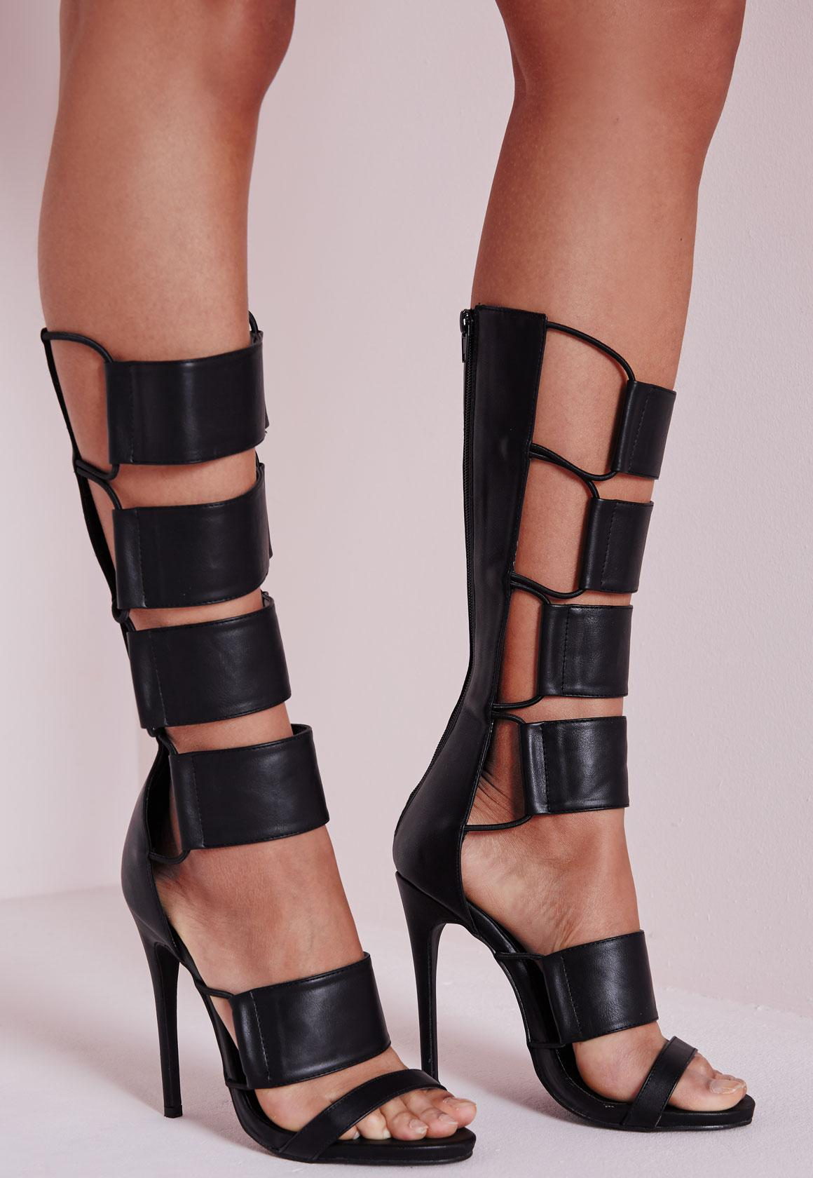 Elastic Detail Gladiator Heeled Sandals Black - Shoes - High Heels ...