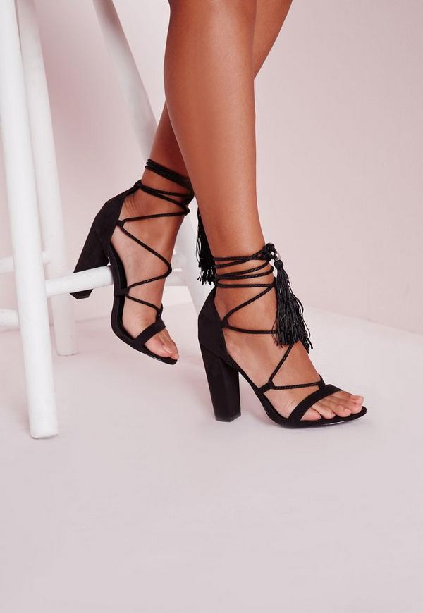 Lace Up Tassel Block Heeled Sandals Black
