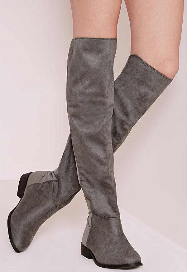 Elastic Back Over The Knee Boots Charcoal