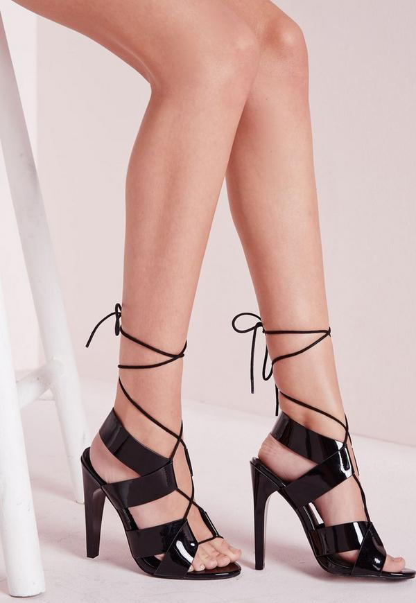 Cross Strap Lace Up Heeled Sandals Black