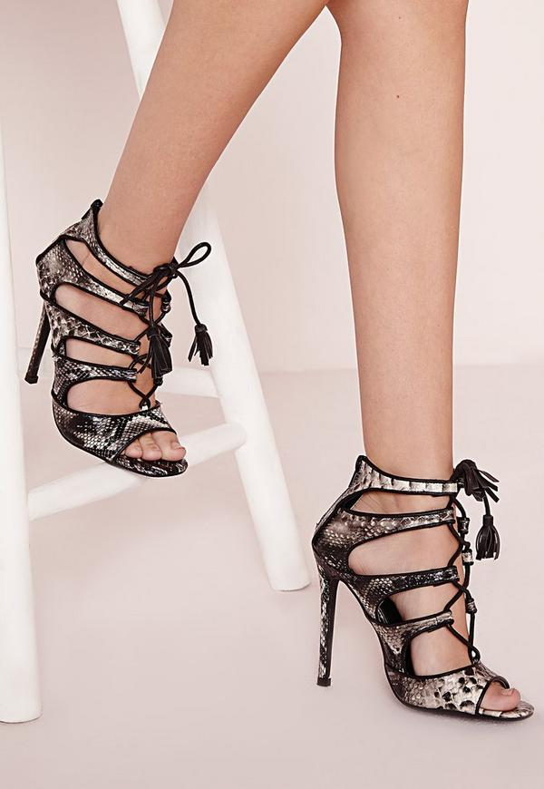 Lace Up Heeled Sandals Snake Print