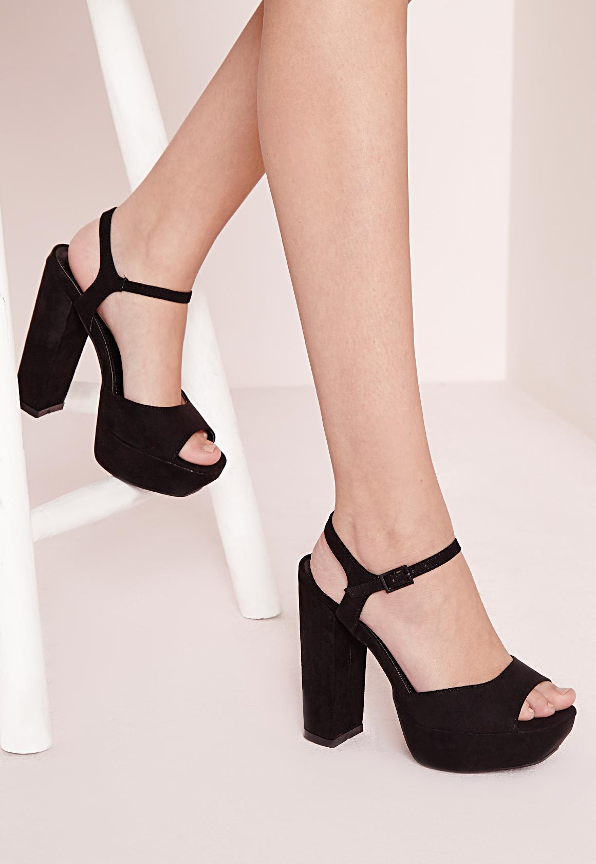 Platform Block Heel Sandal Black - Shoes - Heeled Sandals - Missguided