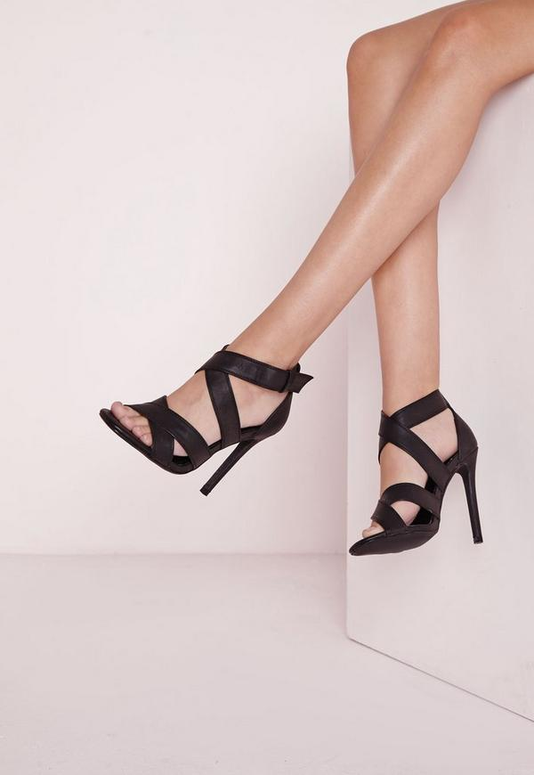 Crossover Strap Sandals Black