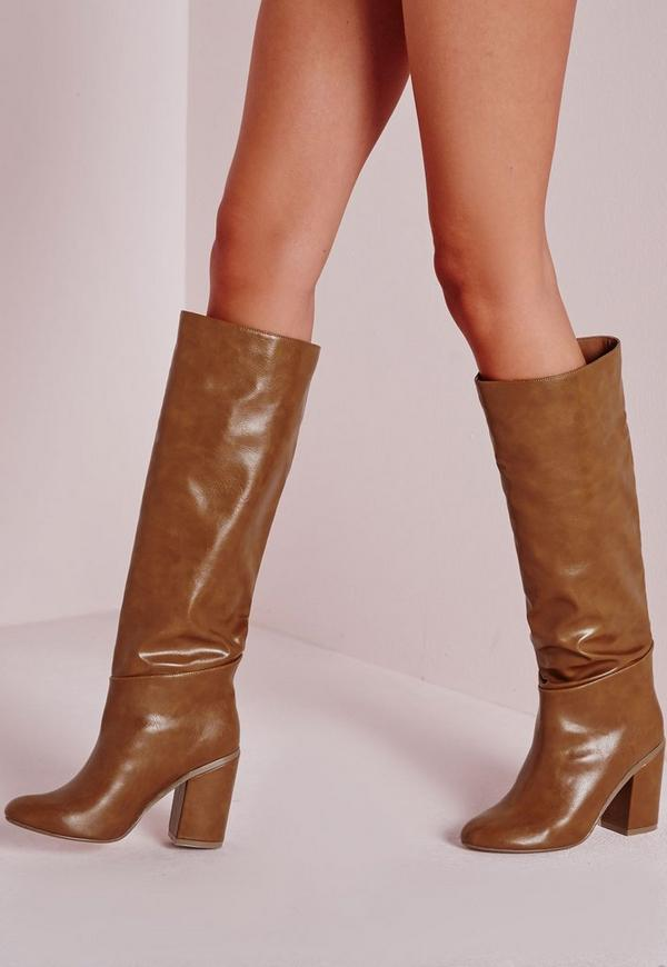 High Leg Patent Boots Tan