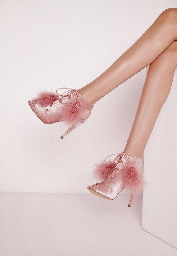 Pom Pom Lace Up Heeled Sandals Pink