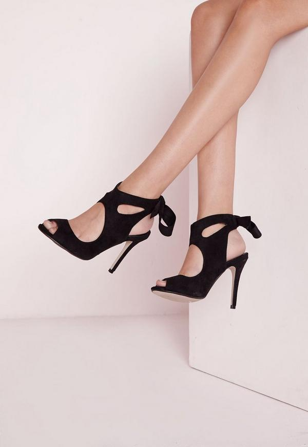 Bow Tie Back Heeled Sandals Black