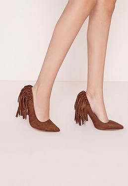 Tassel Back Court Shoes Tan