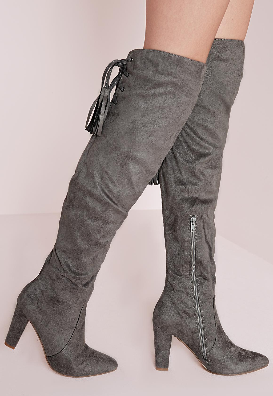 b0ebc5e6eee Heeled Knee High Tie Back Boots Grey