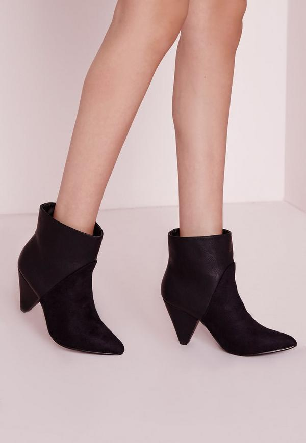 Contrast Heeled Ankle Boots Black