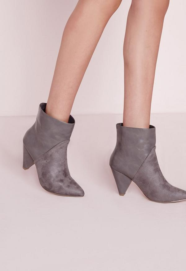 Contrast Heeled Ankle Boots Grey
