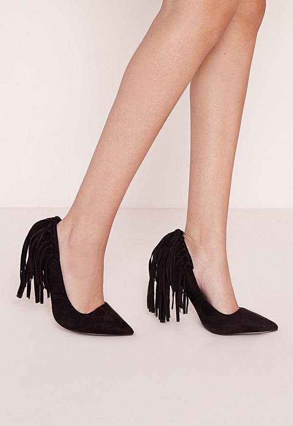 Tassel Back Court Shoes Black