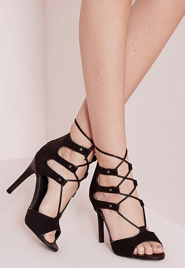 Lace Up Caged Heeled Sandals Black