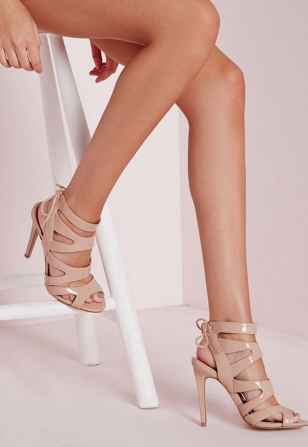 Laser Cut Heeled Sandals Nude