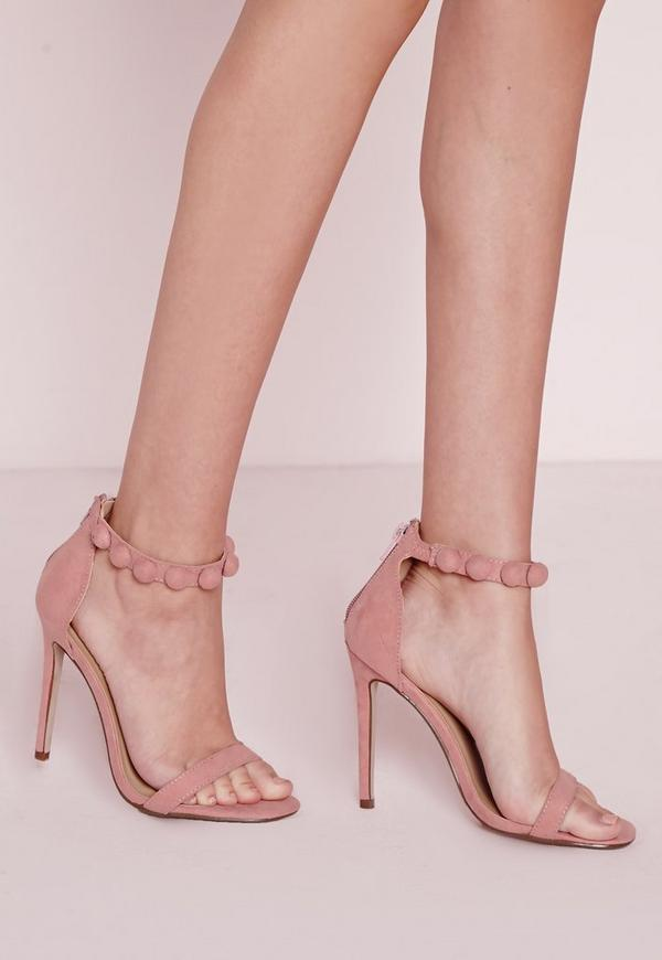 Button Barely There Heeled Sandals Pink