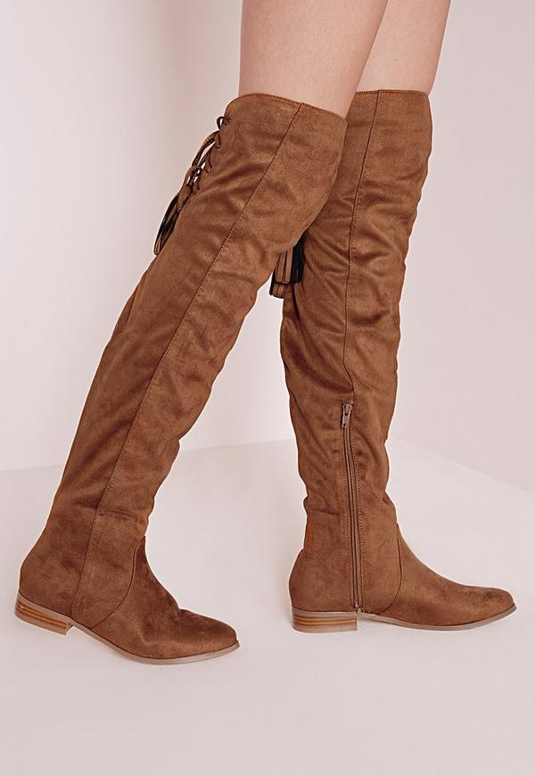 Flat Knee High Tassel Back Boot Tan